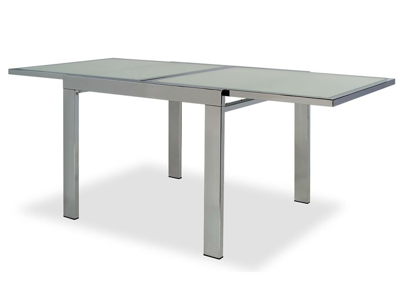 Vr90 table rallonge en m tal avec plateau en verre 90 x for Table en verre a rallonge