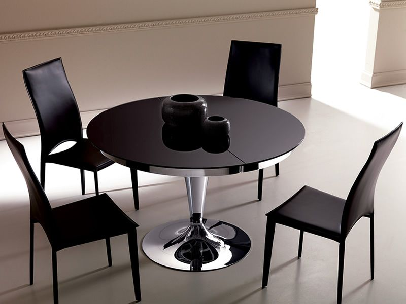 Eclipse table ronde en m tal plateau en verre diam tre for Table ronde 100 cm avec rallonge