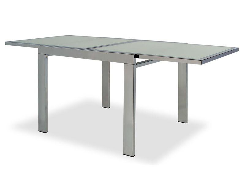 Vr90 mesa extensible de metal con sobre de cristal 90 x for Mesa cristal 90 cm