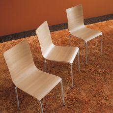 Bibip - Sedia impilabile Midj in metallo, seduta in laminato tinta naturale