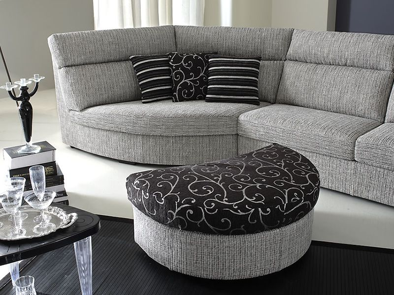 rond a canap 2 places avec angle arrondi et pouf sediarreda. Black Bedroom Furniture Sets. Home Design Ideas