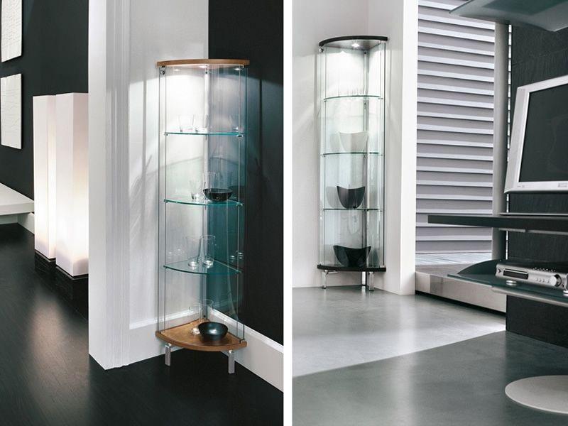 Parella 6429 Vitrine d'angle Tonin Casa en bois et verre, en différentes couleurs, avec LED  # Vitrine Verre Et Bois