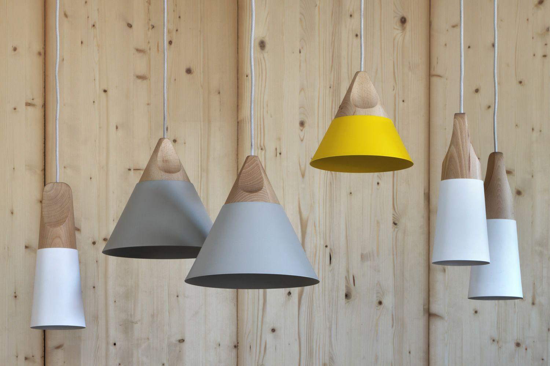 Lampadario Bianco Legno : Slope s lampada a sospensione miniforms in legno e metallo