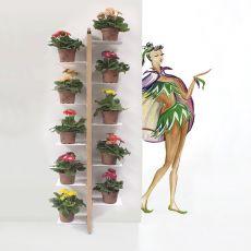 Zia Flora P - Porta vasi verticale, da terra fissata a parete, in legno massello, disponibile in diverse dimensioni e colori