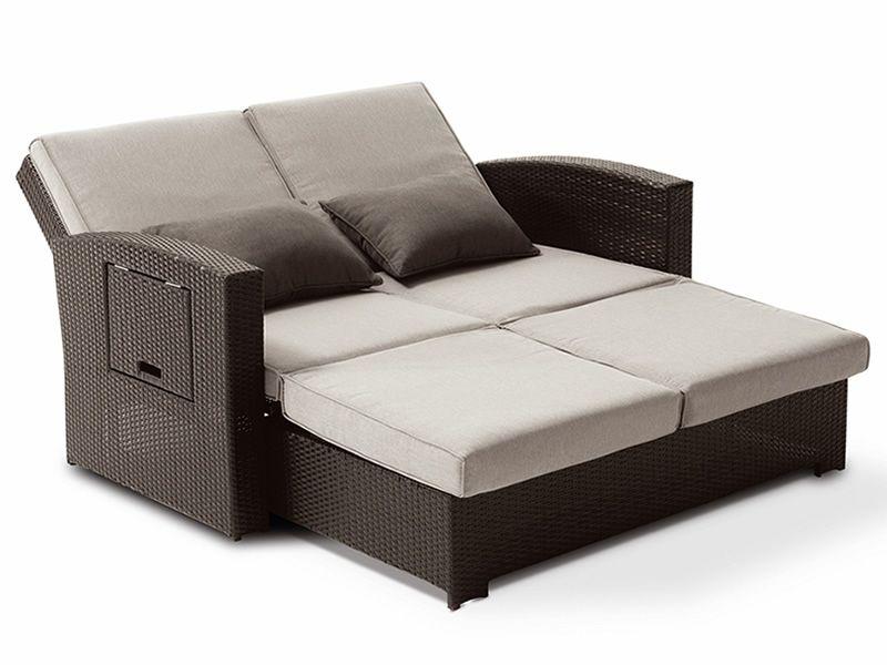 Rig64 divano letto 2 posti rivestito in rattan - Divano letto aperto ...