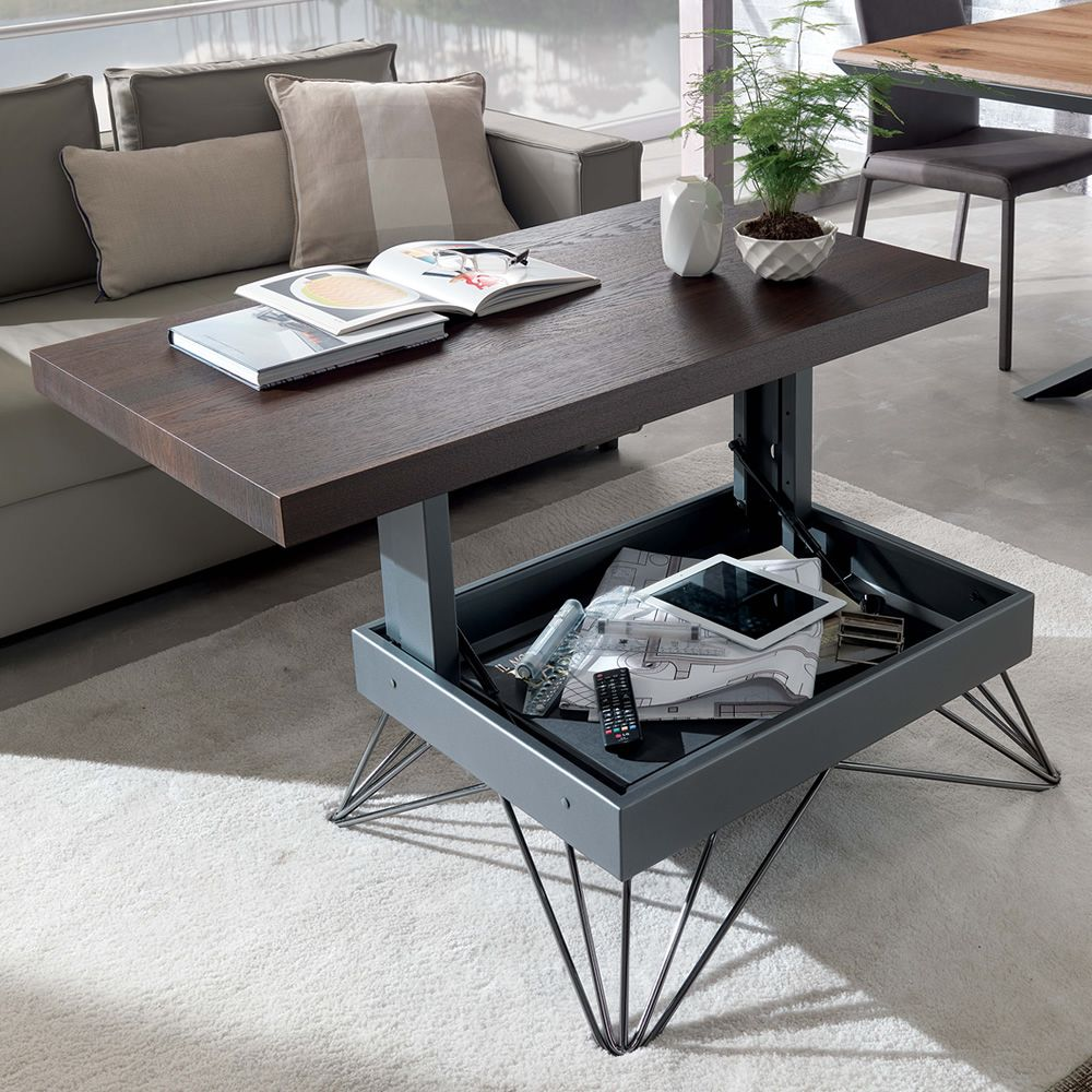 Radius petite table transformable et relevable en deux hauteurs en m tal p - Table transformable but ...