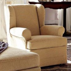 Amantia - Classic armchair with skirt, covered with imitation leather or fabric