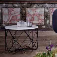 Vitro - Tavolino in metallo, piano in vetro o marmo