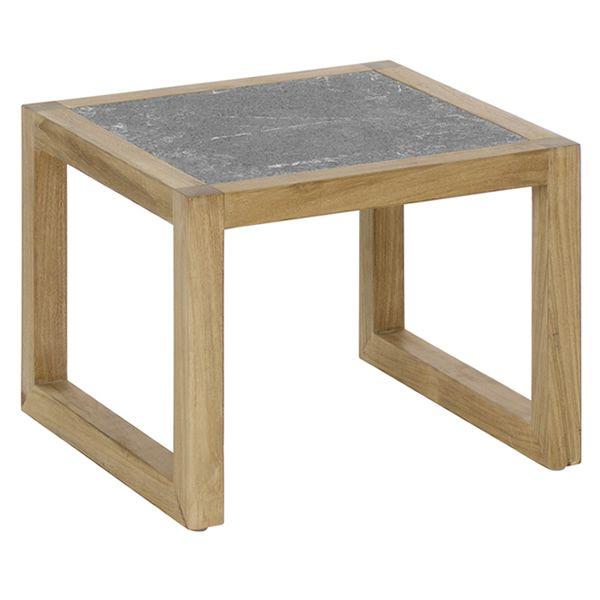 Kontiki b tavolo emu basso in metallo e legno piano in pietra lavica sediarreda - Tavolo in pietra giardino ...