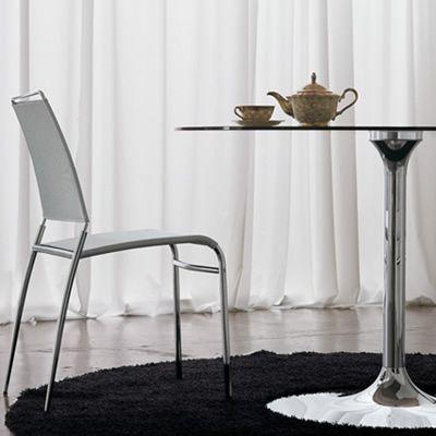 metalltisch mit runder platte aus glas oder melamin. Black Bedroom Furniture Sets. Home Design Ideas