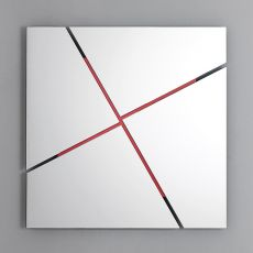 Break - Bontempi Casa design mirror, square or rectangular, with steel support structure available in different colours
