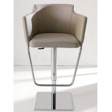 Gerry - Sgabello regolabile in altezza, in metallo con seduta in pelle, disponibile in diversi colori