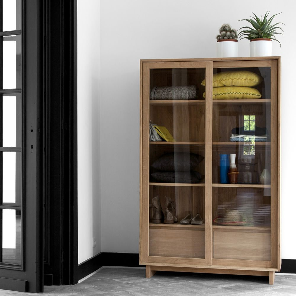 wave g vitrine ethnicraft en bois portes coulissantes en verre et tiroirs. Black Bedroom Furniture Sets. Home Design Ideas