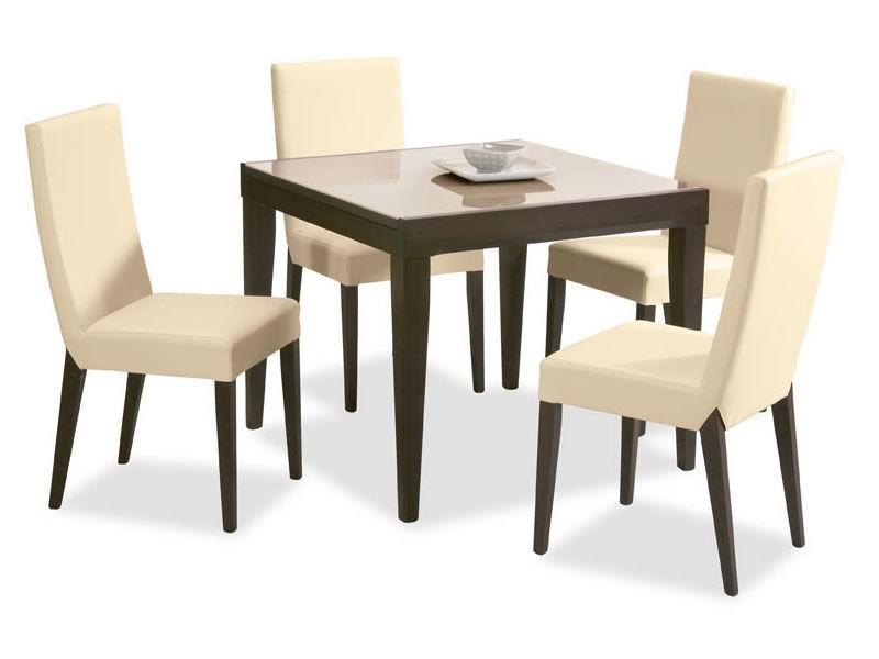 702 2v table rallonge en bois plateau en verre 90x90 - Table 90x90 avec rallonge ...