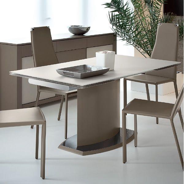 Discovery v tavolo domitalia in metallo o impiallacciato for Tavolo vetro opaco