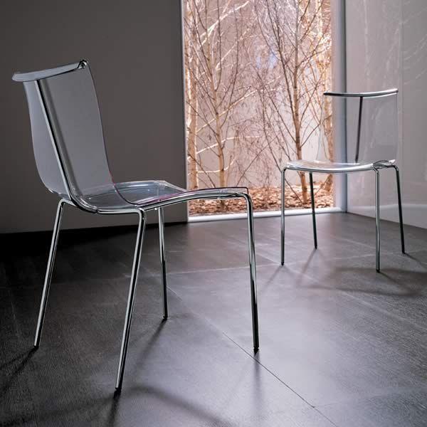 Zelig chaise empilable midj en m tal assise en plaqu ou for Chaise en polycarbonate