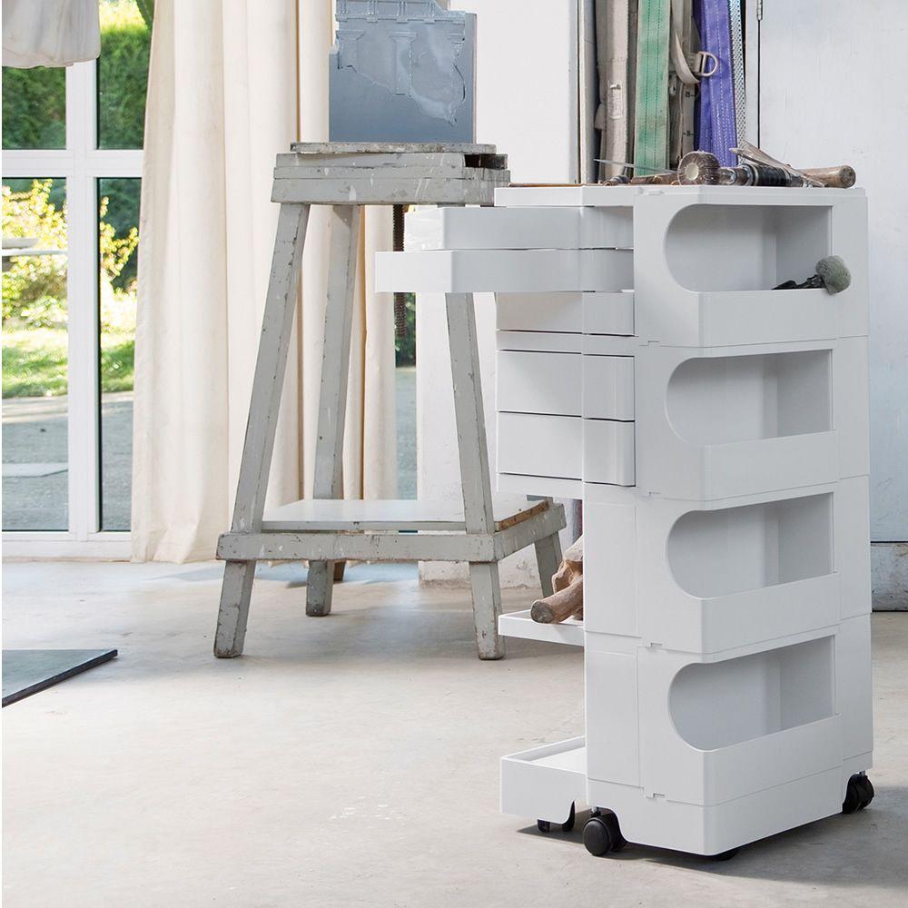 Boby | Carrello contenitore di design in ABS colore bianco, grandezza