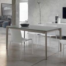 Doto - Table design de Bontempi Casa, 140(200) x 90 cm extensible, en métal, plateau en verre, disponible dans un large choix de couleurs