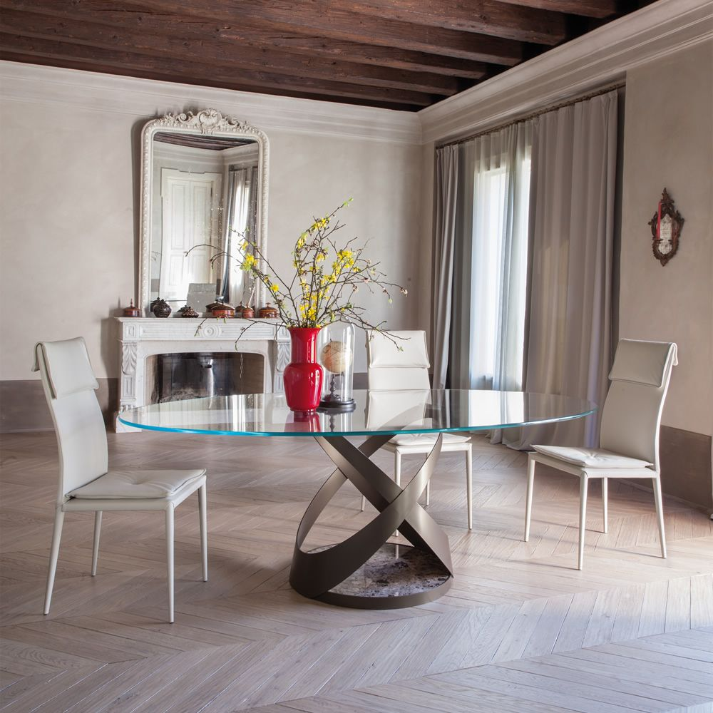 Tavoli In Pietra E Cristallo.Capri 8069 Tavolo Fisso Tonin Casa In Metallo Piano In Vetro