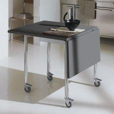 Flash & Free - Tavolo trasformabile Bontempi Casa, pieghevole e su ruote, in metallo con piano in laminato, disponibile rettangolare o ovale, in diversi colori