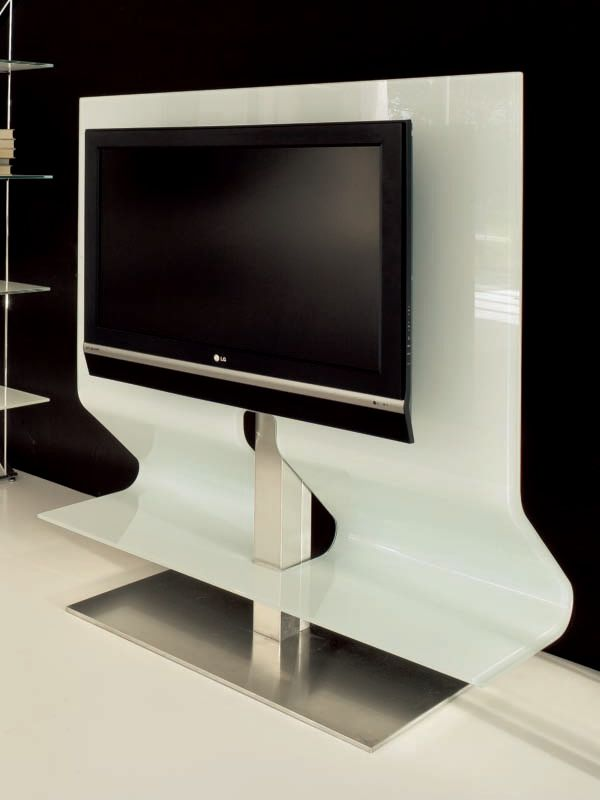 Odeon 7098 meuble porte tv tonin casa en verre arrondi et for Meuble tv avec support