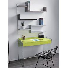 My - Composizione con scrivania in vetro e libreria in laminato