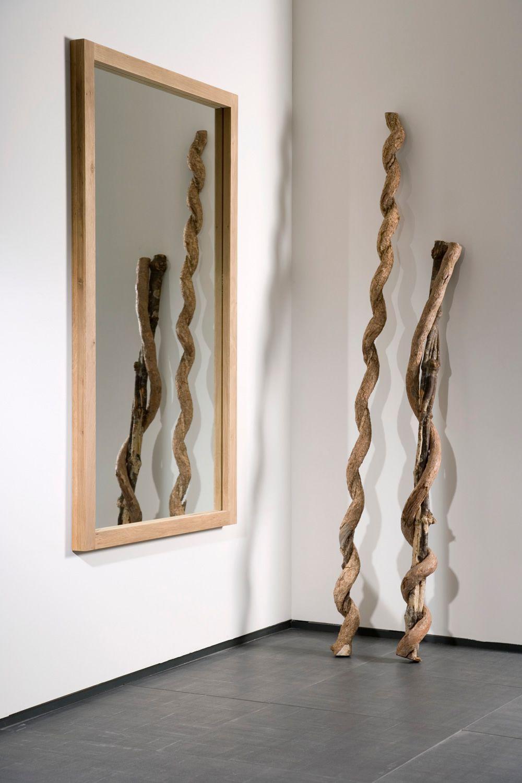 Lf   specchio ethnicraft con cornice in legno, diverse altezze ...