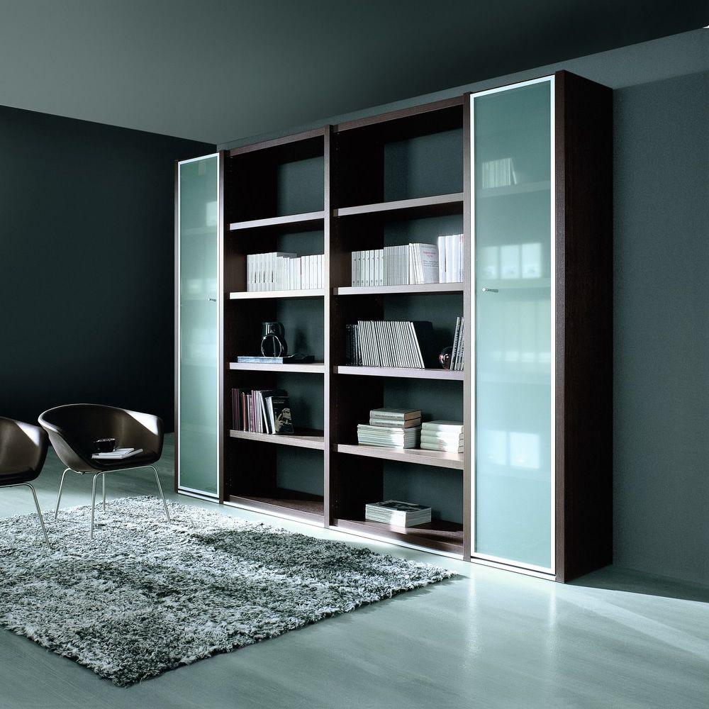 Libreria 02 biblioth que pour bureau hauteur 215 cm avec 5 tag res et deux portes en verre - Bibliotheque pour bureau ...