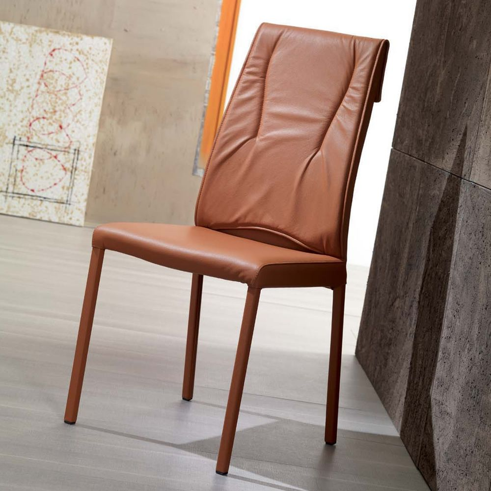 ... Luxy   Metal Chair With Leather Covering In Habana Dark Orange ...