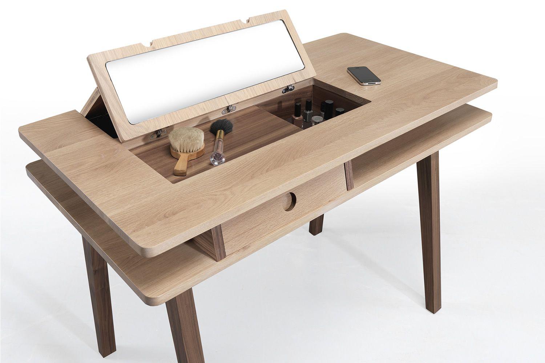 lei multifunktionaler holztisch mit ablagefach und platte mit klappspiegel sediarreda. Black Bedroom Furniture Sets. Home Design Ideas