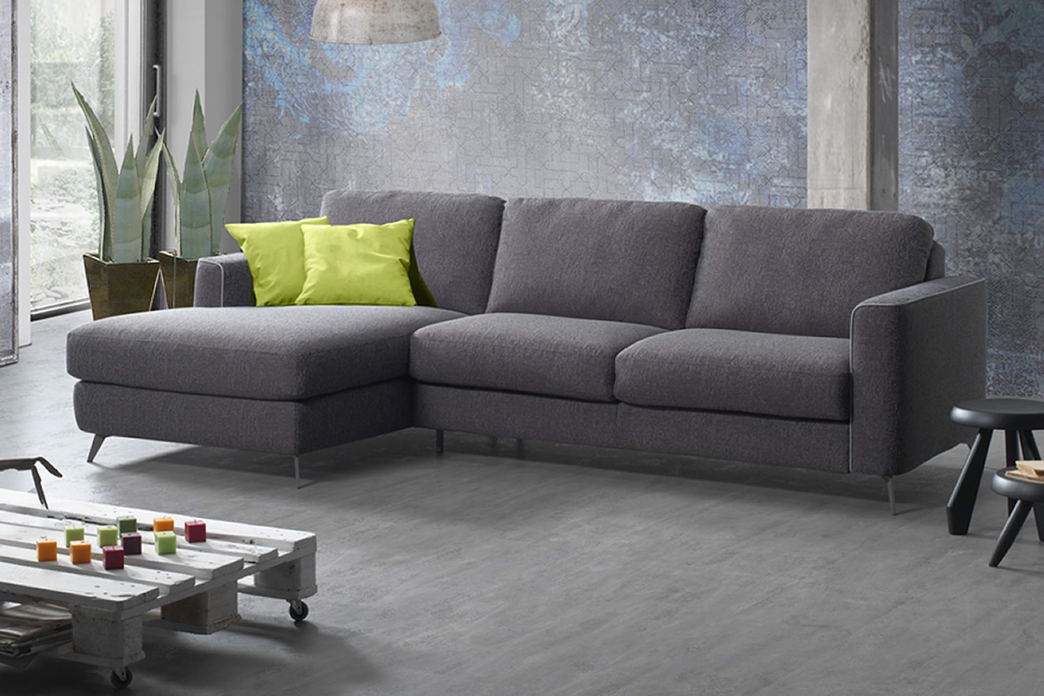 Fiordaliso-A: 2, 3 or 3XL seaters sofa, with peninsula, totally ...