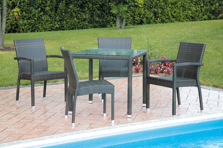 ... - Tavolo da giardino in simil rattan con sedie con e senza braccioli