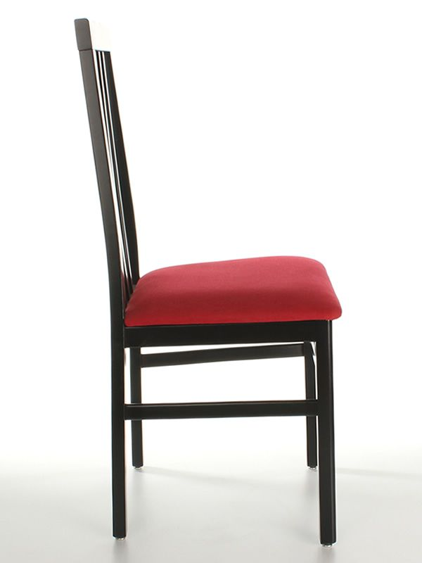 MU14 - Sedia moderna in legno, con seduta imbottita, diverse tinte e rivestim...
