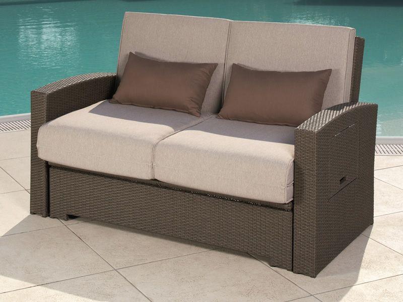 Rig64 divano letto 2 posti rivestito in rattan sintetico anche per esterno sediarreda - Divano letto a due posti ...