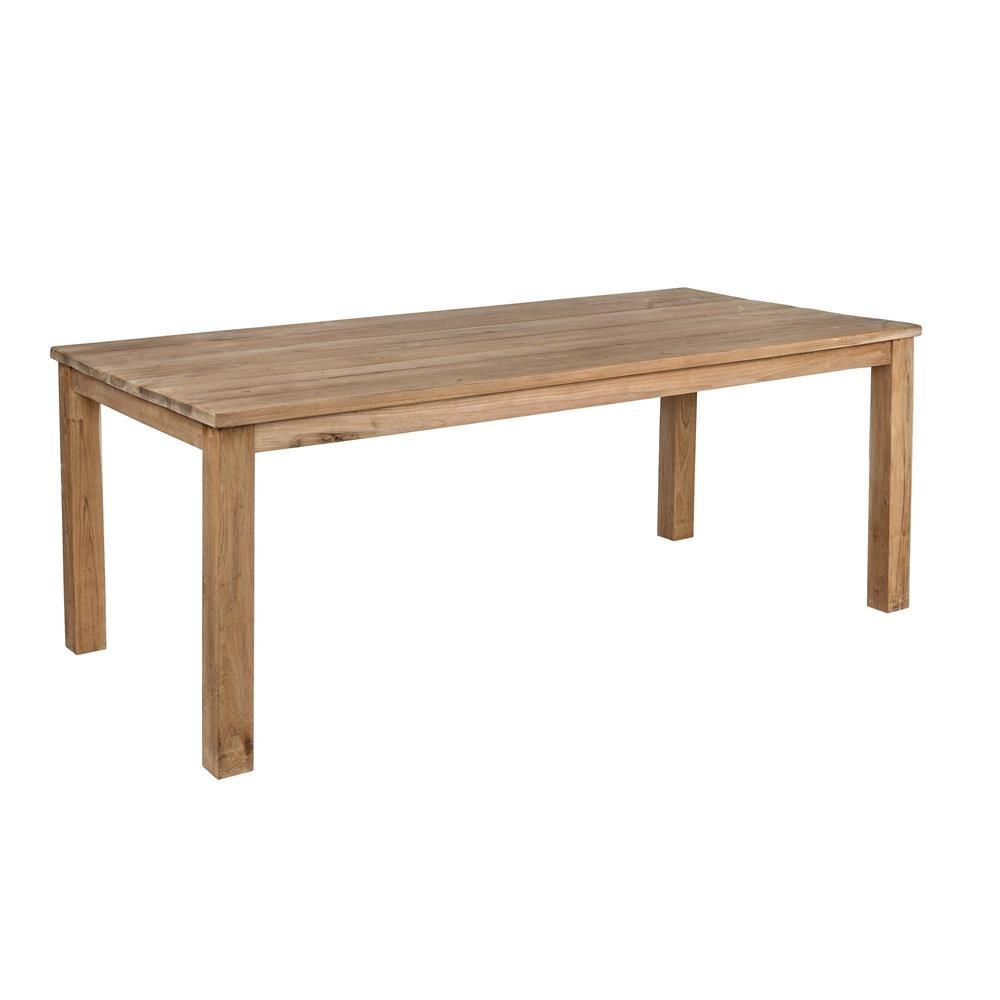 Dakar t teak wooden table with fixed rectangular top for Table 200x100