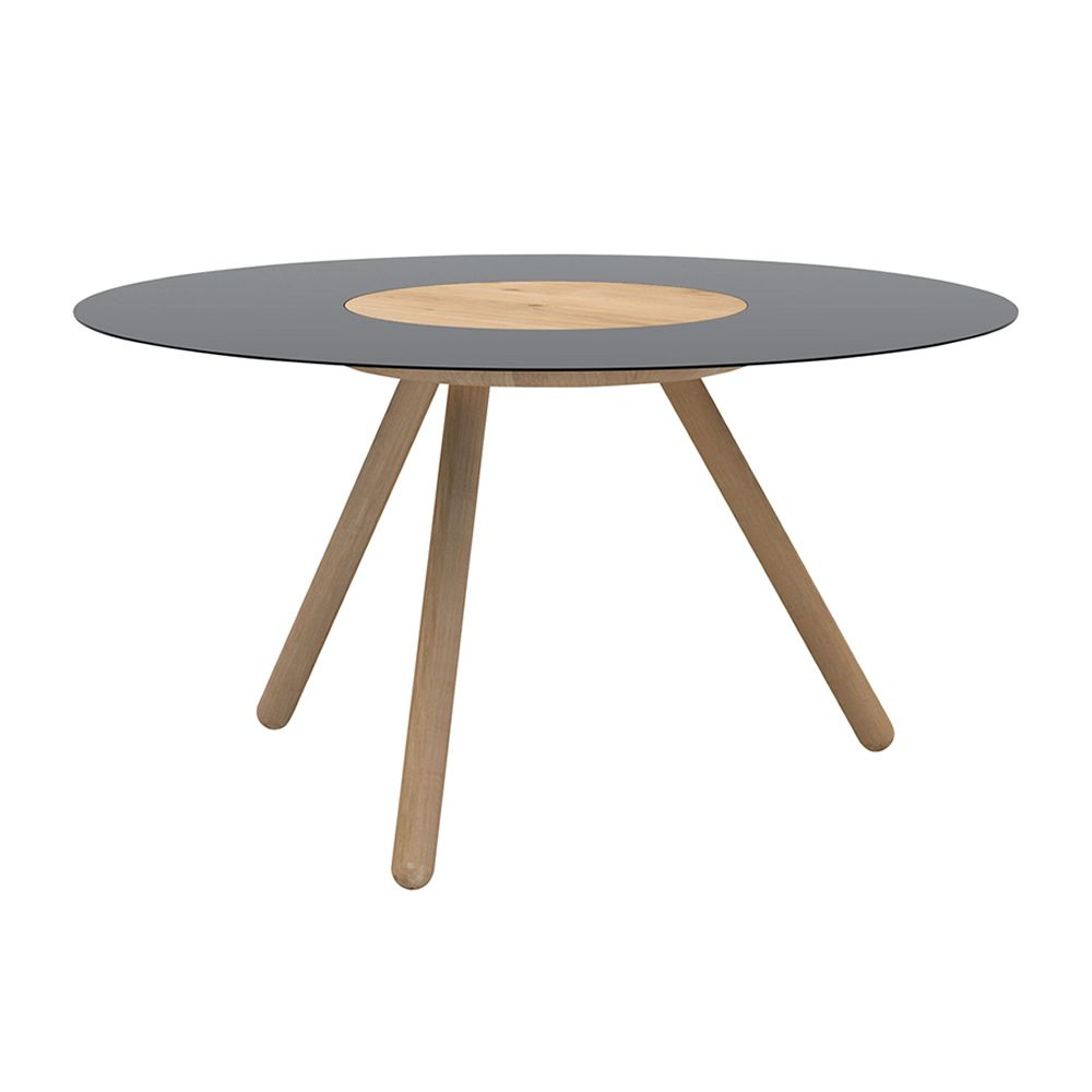 ... Sputnik   Wooden Coffee Table With Round Top Made Of Wood And Black  Lacquered Metal