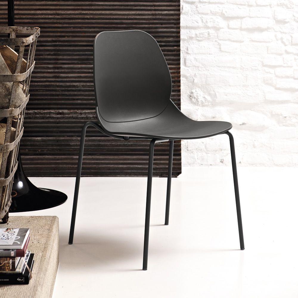 April chaise empilable de bontempi casa en m tal et - Chaise metal couleur ...