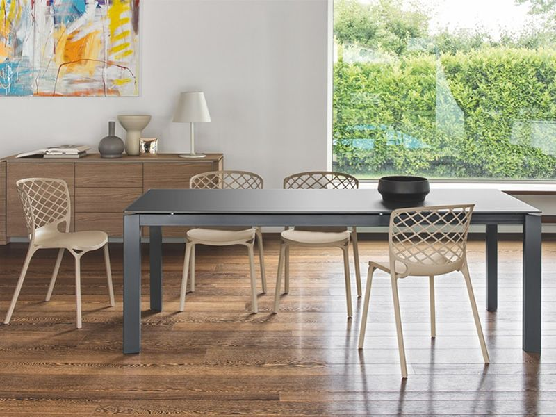 Cs4010 160 baron table rallonge calligaris en m tal for Calligaris baron table