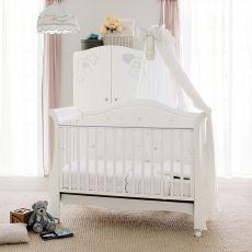 Prestige Vittoria - Lettino-divanetto Pali in legno di faggio con cassetto, disponibile anche con velo