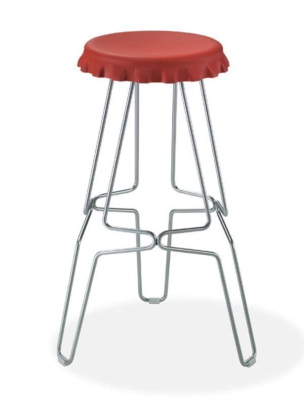 Spring   Metal Fixed Stool, Black Polypropylene Seat, 79 Cm