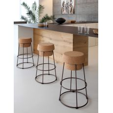 Bouchon - Metal stool, with cork seat, height at 66 cm or 76 cm, different finishes availables