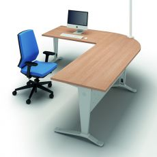 Idea Ypsilon 02 - L-shaped double desk, round corner, with metal frame and laminate top, available in various sizes and finishes