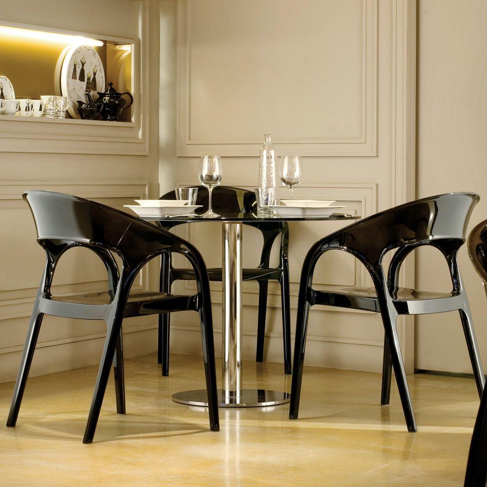 Gossip 620 chaise pedrali avec accoudoirs de design en for Chaise de cuisine noir