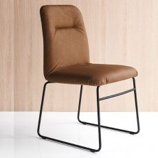 CB1904 Greta - Bar metal chair, covered with fabric or imitation leather, available in several colours