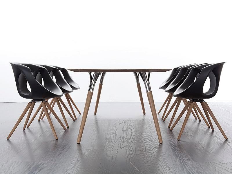 salt pepper tonon design tisch mit metallbeinen und holzplatte 95x180 cm sediarreda. Black Bedroom Furniture Sets. Home Design Ideas