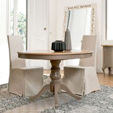 Arago 4327 - Tonin Casa classic round table made of wood, different finishes available, diameter 120 cm extendable