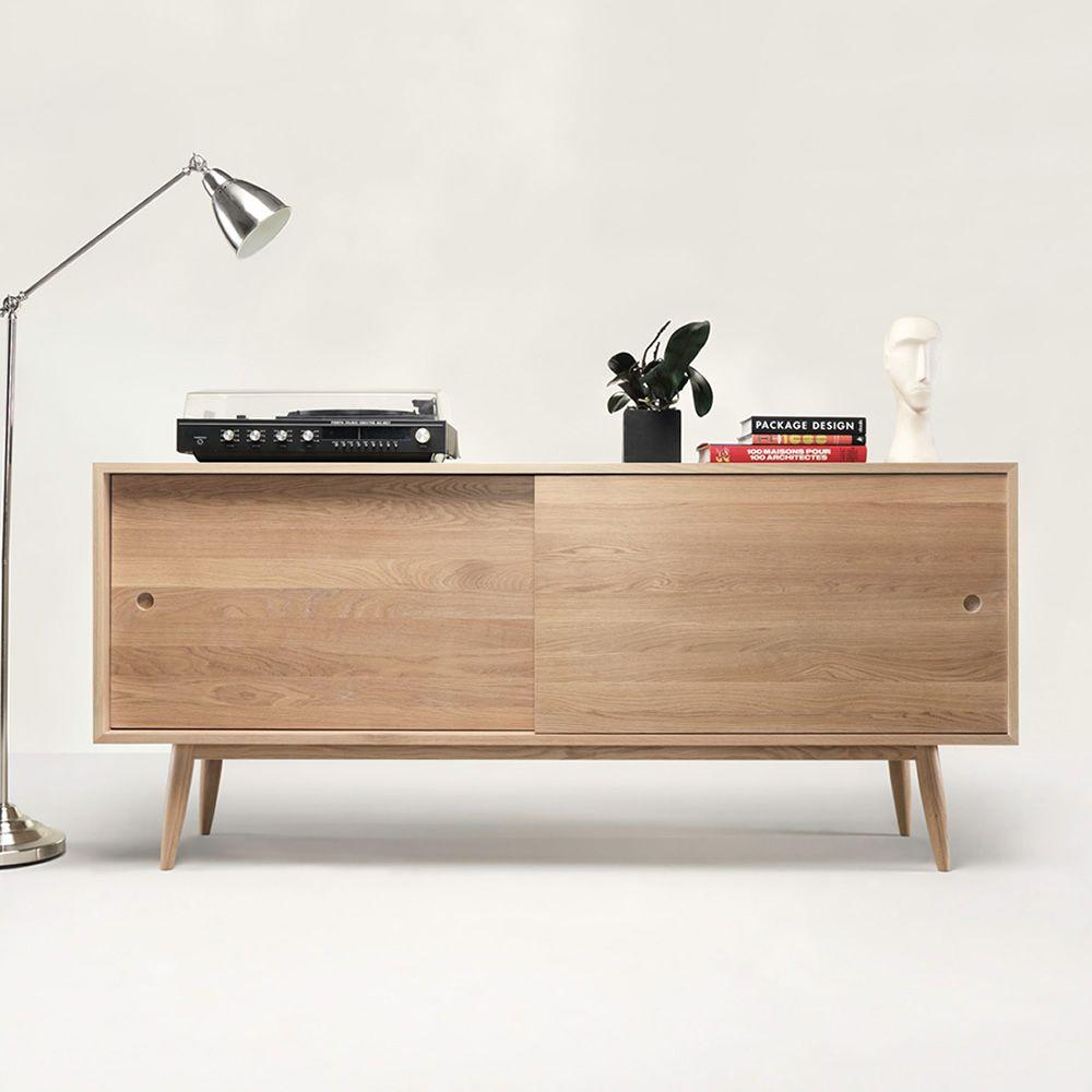 Oak - Mobile da soggiorno in legno, con ante scorrevoli, mensole e ...