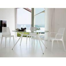 Metropolis 2402 - Tavolo in metallo con piano in vetro ovale, 112X150 cm, diverse finiture