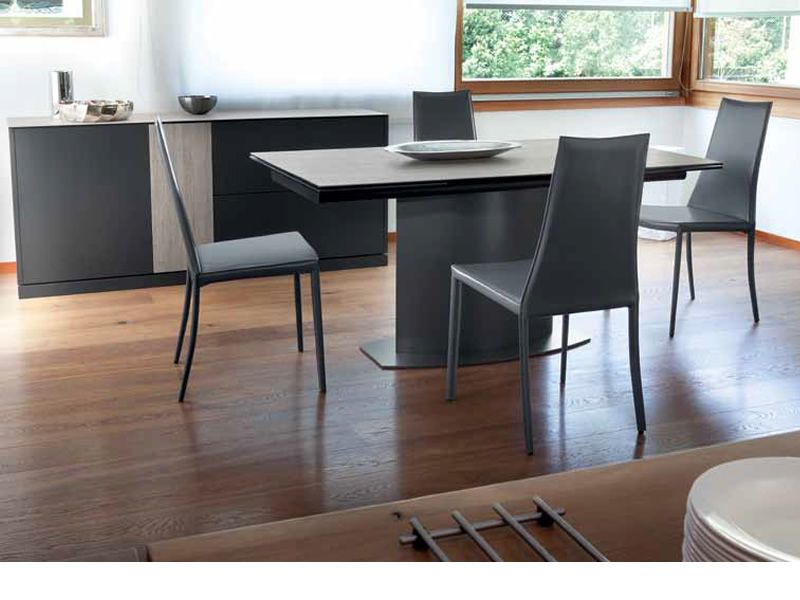 discovery c table domitalia en m tal ou plaqu plateau en c ramique 160 x 98 cm rallonge. Black Bedroom Furniture Sets. Home Design Ideas