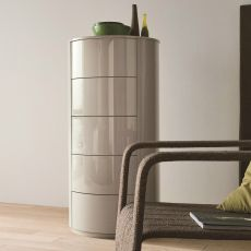 Christal-D - Dall'Agnese high chest of drawers made of wood, different finishes available, five drawers